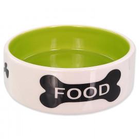 Miska DOG FANTASY keramická potisk kost 12,5x4,5cm 0,28l bílo-zelená