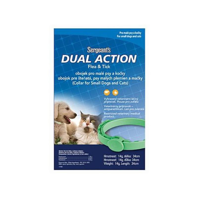 SERGEANT´S Pet Company Sergeanťs Dual obojek antipar. malí psi a kočky 34cm