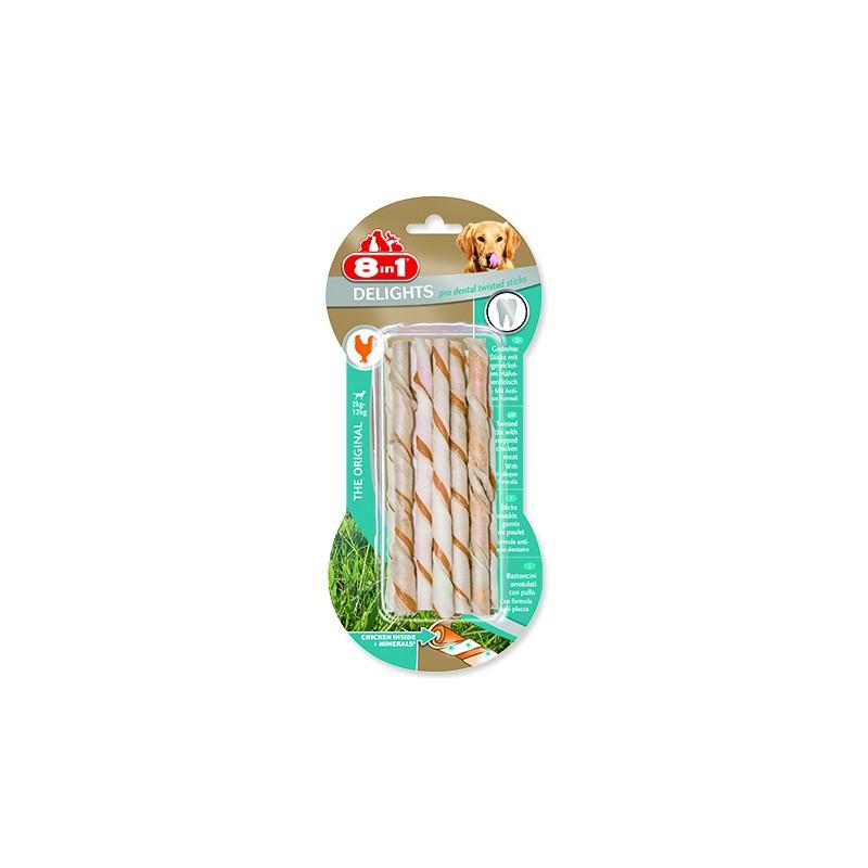 8 in 1 Pet Products GmbH Tyčinky 8in1 Dental Delights kroucené žvýkací 55g