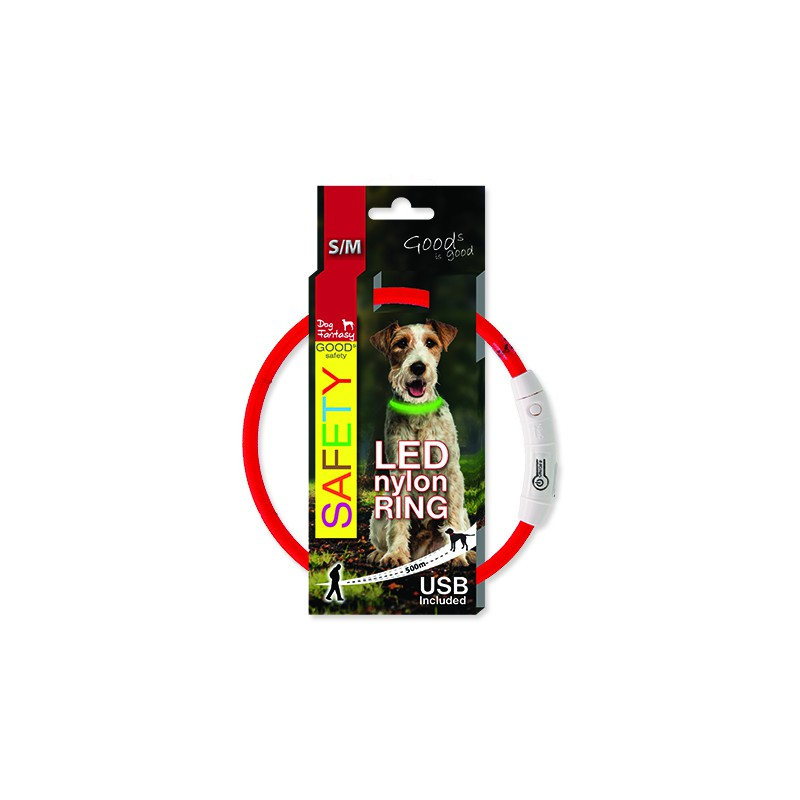 Dog fantasy Obojek DOG FANTASY LED nylonový červený S-M 1ks