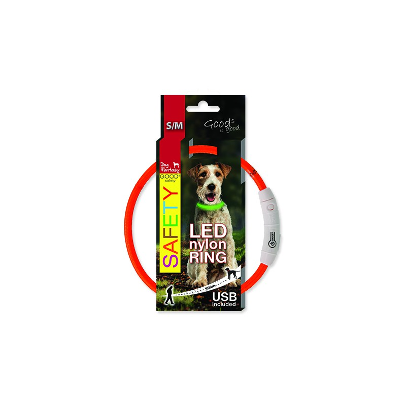 Dog fantasy Obojek DOG FANTASY LED nylonový oranžový S-M 1ks