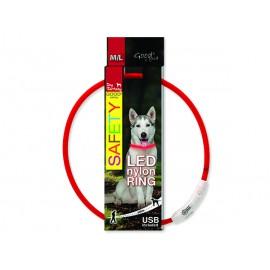Obojek DOG FANTASY LED nylonový červený M-L 1ks