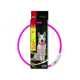Obojek DOG FANTASY LED nylonový růžový M-L 1ks