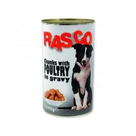 Konzerva RASCO Dog drůbeží kousky ve šťávě 1240g