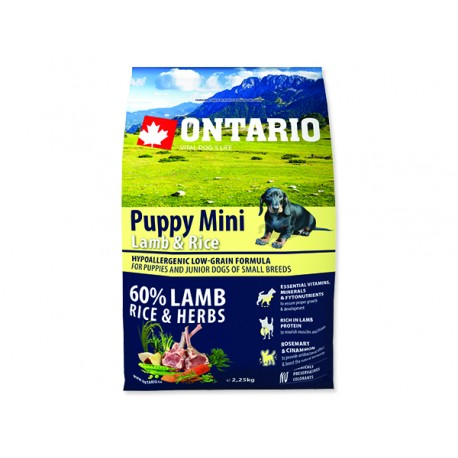 ONTARIO Puppy Mini Lamb & Rice 2,25kg