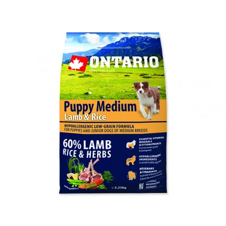ONTARIO Puppy Medium Lamb & Rice 2,25kg