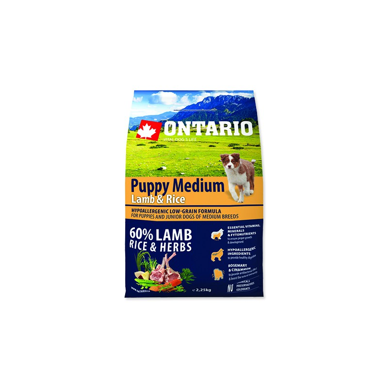 Ontario ONTARIO Puppy Medium Lamb & Rice 2,25kg
