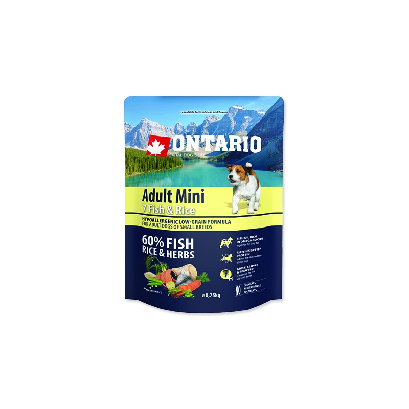 Ontario ONTARIO Dog Adult Mini Fish & Rice 0,75kg