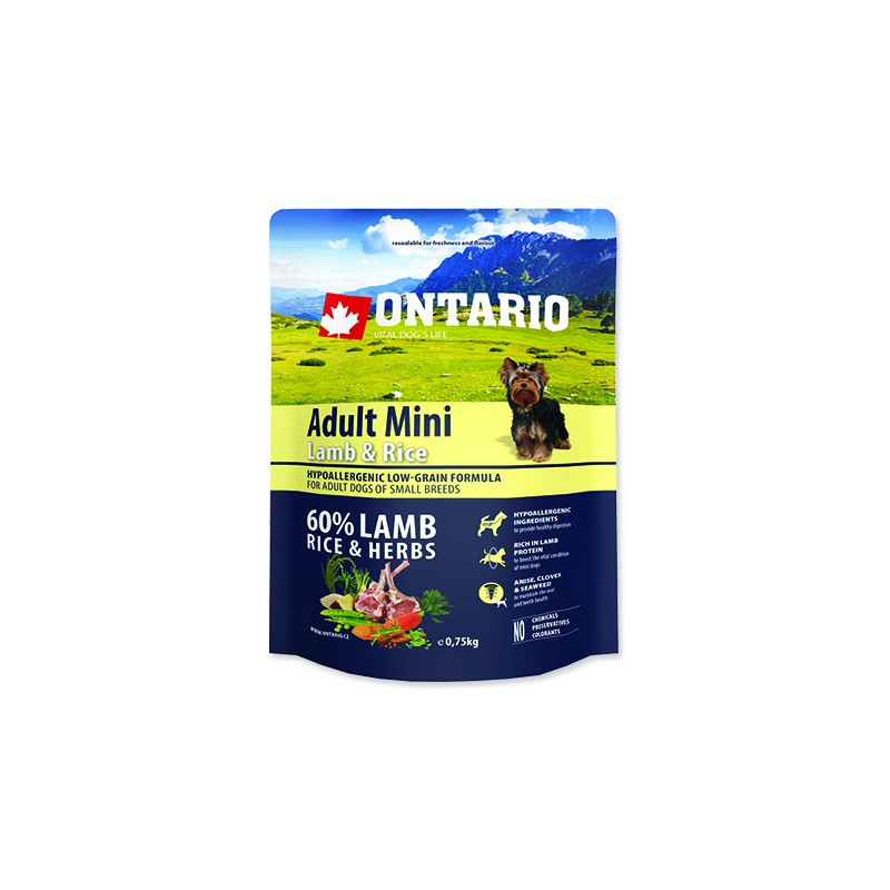 Ontario ONTARIO Dog Adult Mini Lamb & Rice 0,75kg