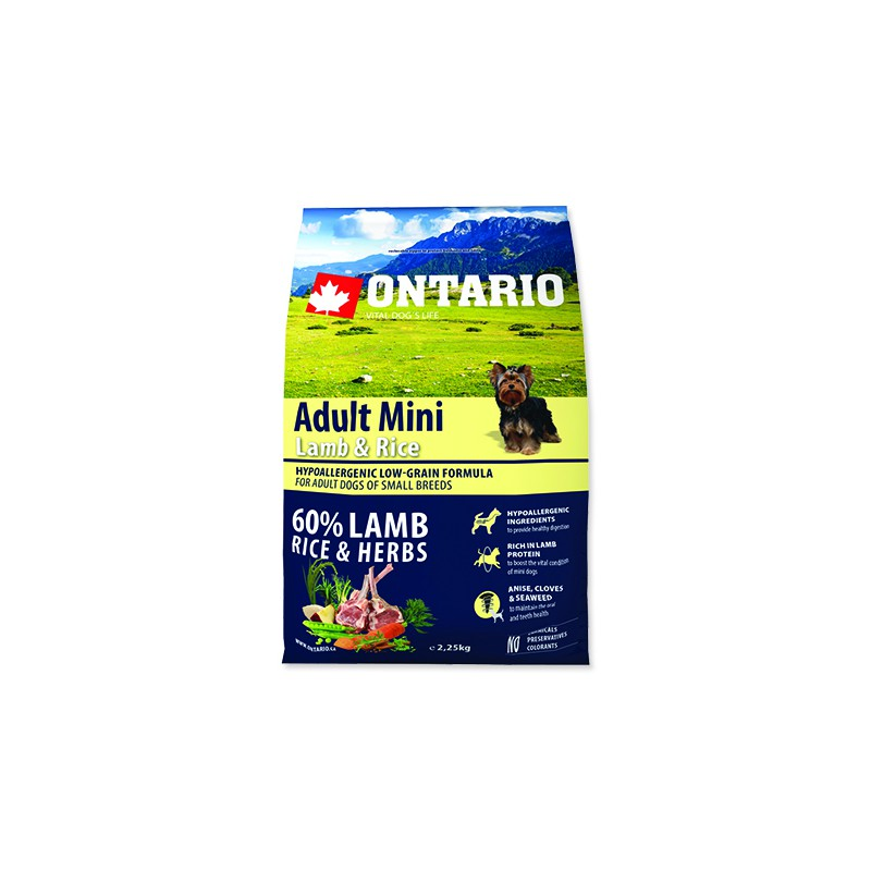 Ontario ONTARIO Dog Adult Mini Lamb & Rice 2,25kg