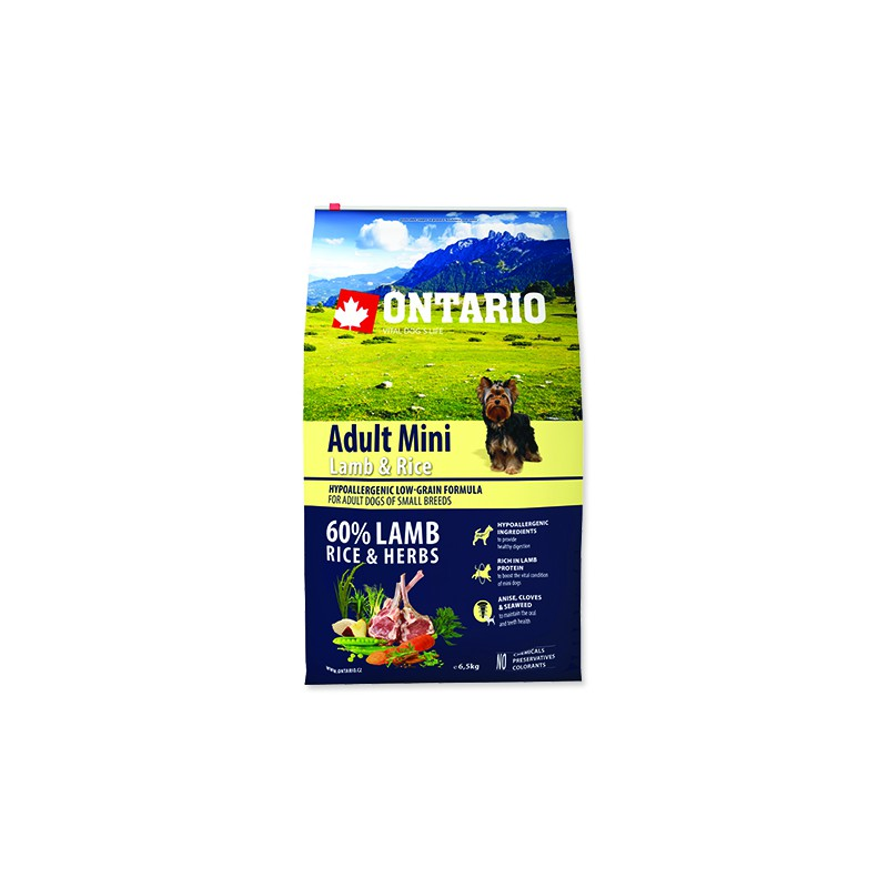 Ontario ONTARIO Dog Adult Mini Lamb & Rice 6,5kg