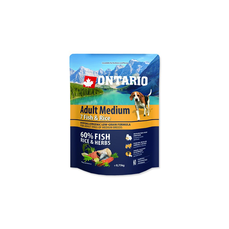 Ontario ONTARIO Dog Adult Medium Fish & Rice 0,75kg