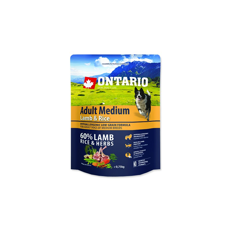 Ontario ONTARIO Dog Adult Medium Lamb & Rice 0,75kg
