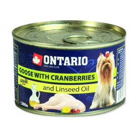 Konzerva ONTARIO Dog Mini Goose, Cranberries, Dandelion and Linseed Oil 200g