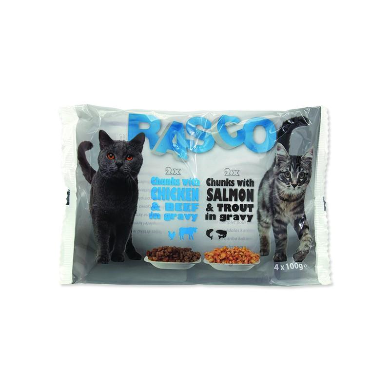 Rasco Kapsičky RASCO Cat s lososem a pstruhem / s kuřecím a hovězím multipack 400g