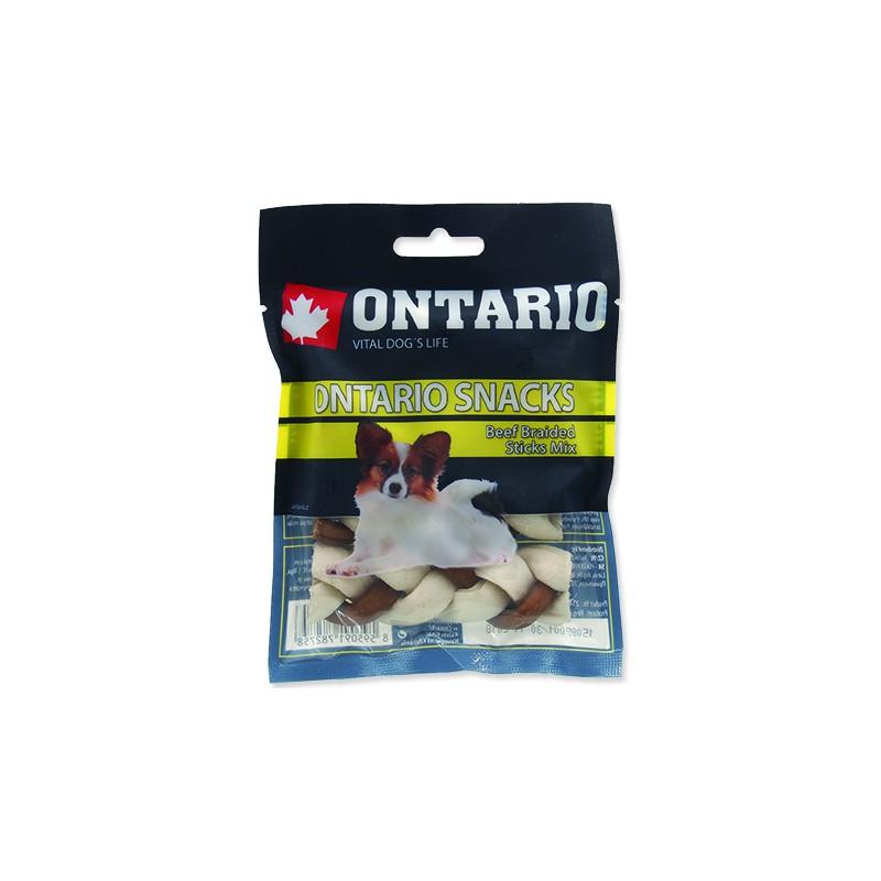 Ontario Snack ONTARIO Dog Rawhide Braided Stick Mix 7,5 cm 4ks