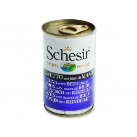 Konzerva SCHESIR Cat tuňák + hovězí 140g