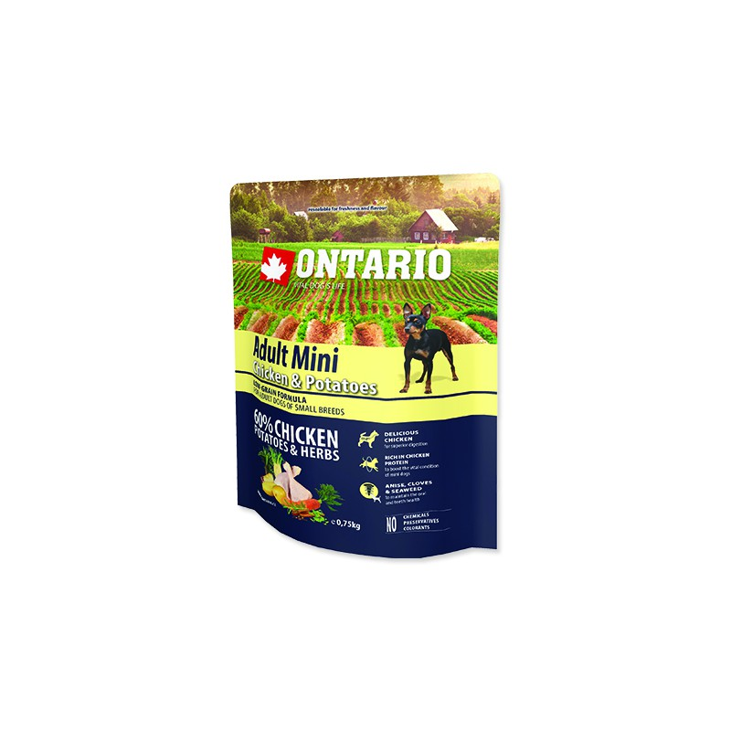 Ontario ONTARIO Dog Adult Mini Chicken & Potatoes & Herbs 0,75kg