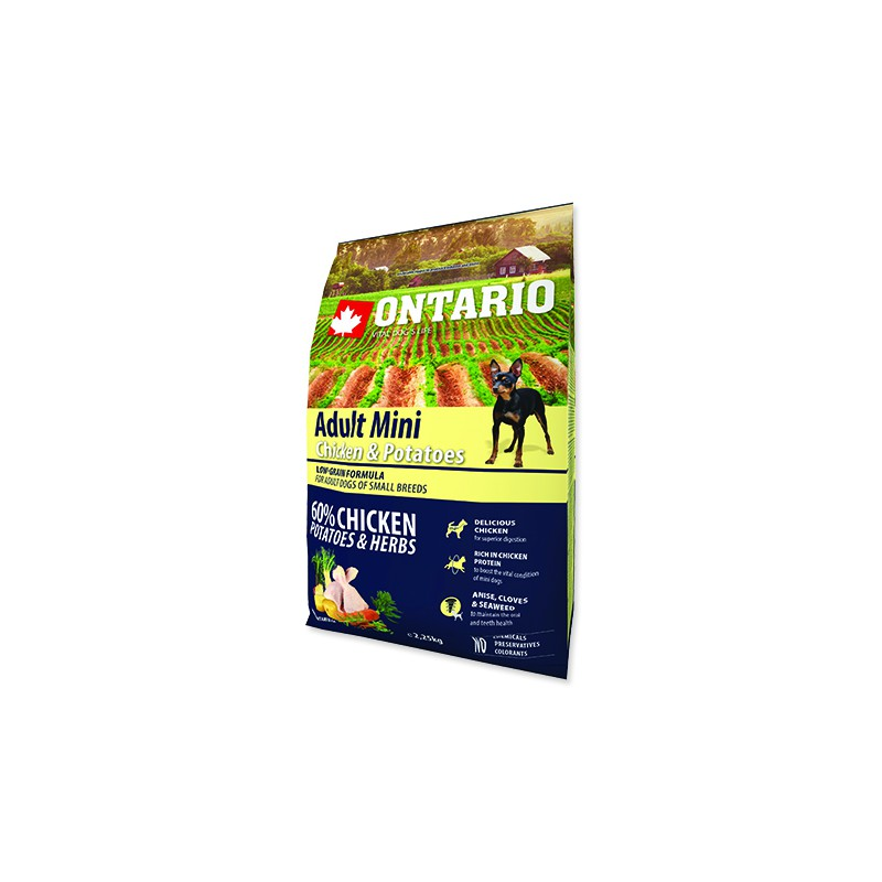 Ontario ONTARIO Dog Adult Mini Chicken & Potatoes & Herbs 2,25kg