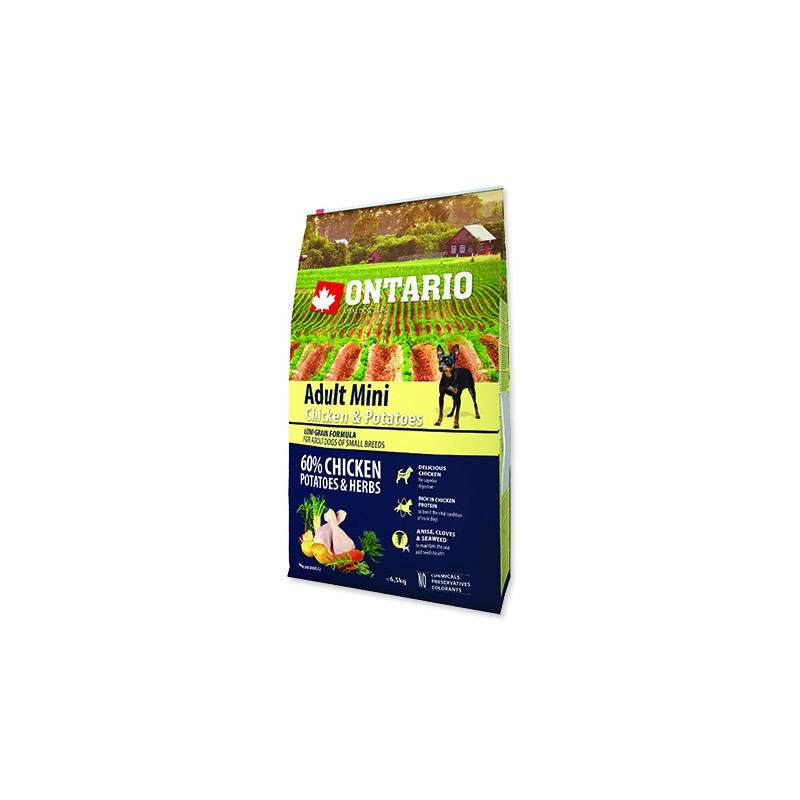 Ontario ONTARIO Dog Adult Mini Chicken & Potatoes & Herbs 6,5kg