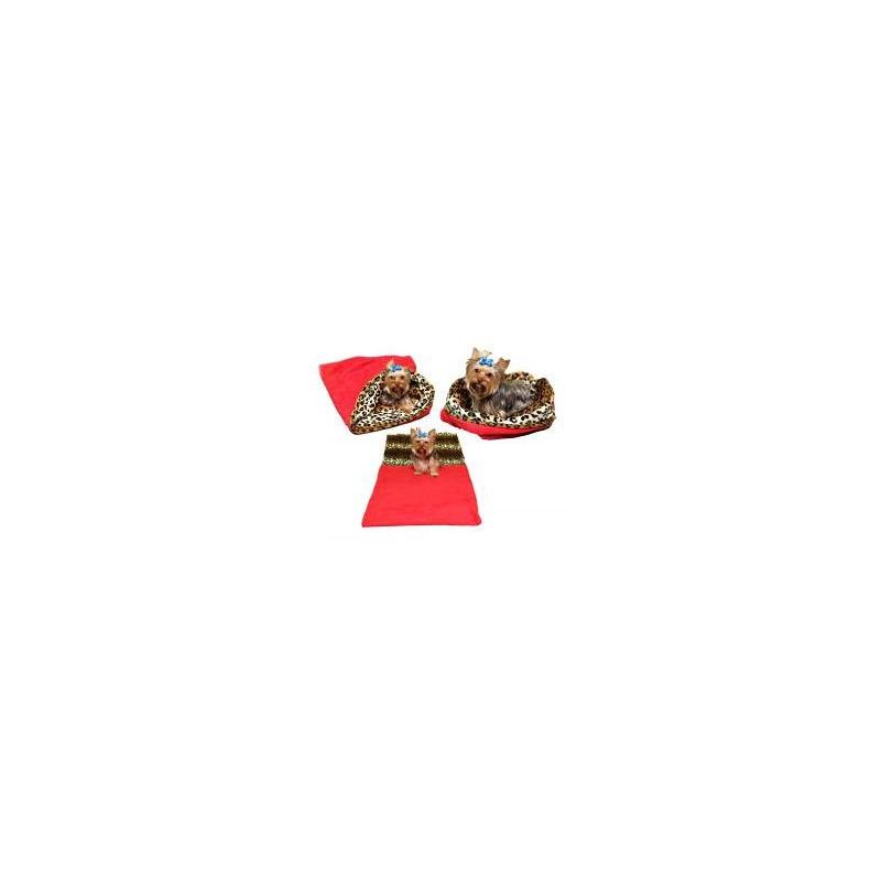 Marysa pelíšek 3v1 pro psy, červený/leopard, velikost XL