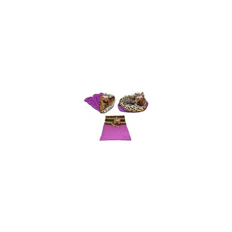Marysa pelíšek 3v1 pro psy, fialový/leopard, velikost XL