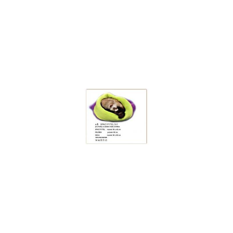 Marysa pelíšek 3v1 pro fretky, fialový/světle zelený