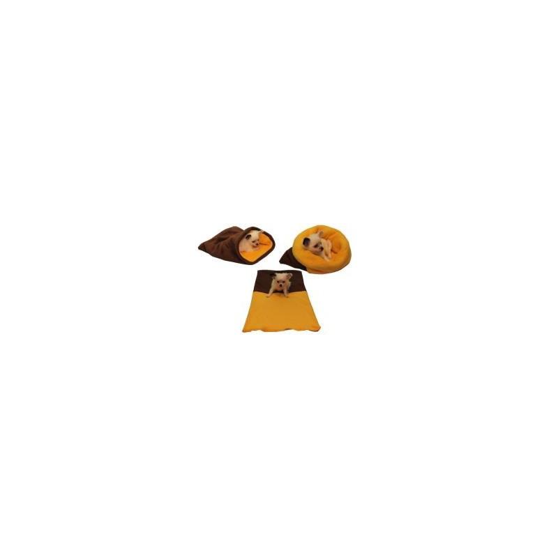 Marysa pelíšek 3v1 pro štěňátka/koťátka - tmavě hnědý/žlutý