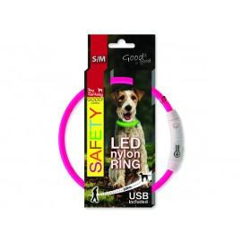 Obojek DOG FANTASY LED nylonový růžový S-M 1ks