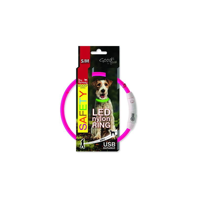 PLAČEK Obojek DOG FANTASY LED nylonový růžový S-M 1ks