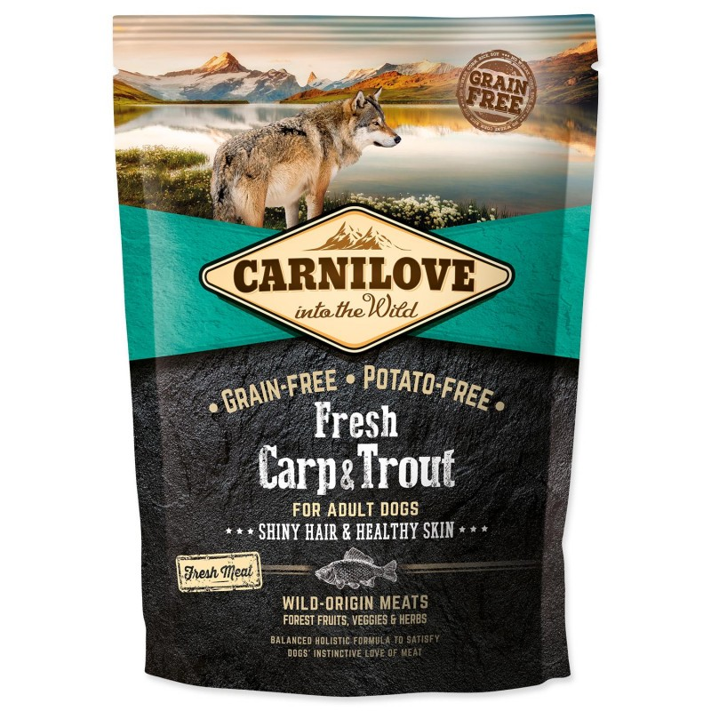 BRIT Dry Dog Carnilove Carnilove Fresh Carp & Trout Shiny Hair & Healthy Skin for Adult dogs 1,5 kg