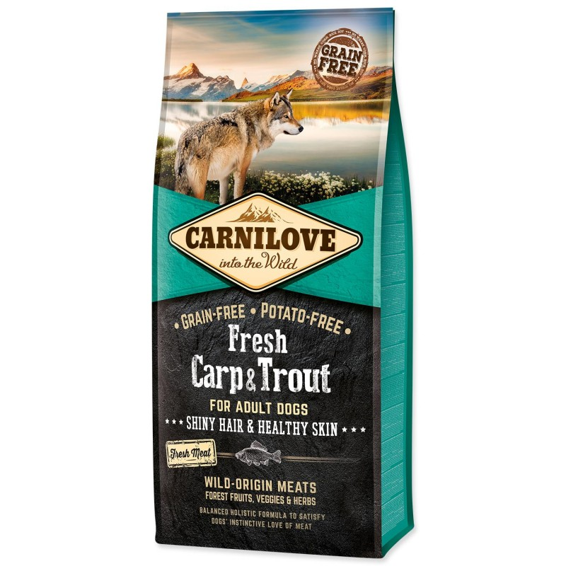 BRIT Dry Dog Carnilove Carnilove Fresh Carp & Trout Shiny Hair & Healthy Skin for Adult dogs 12 kg